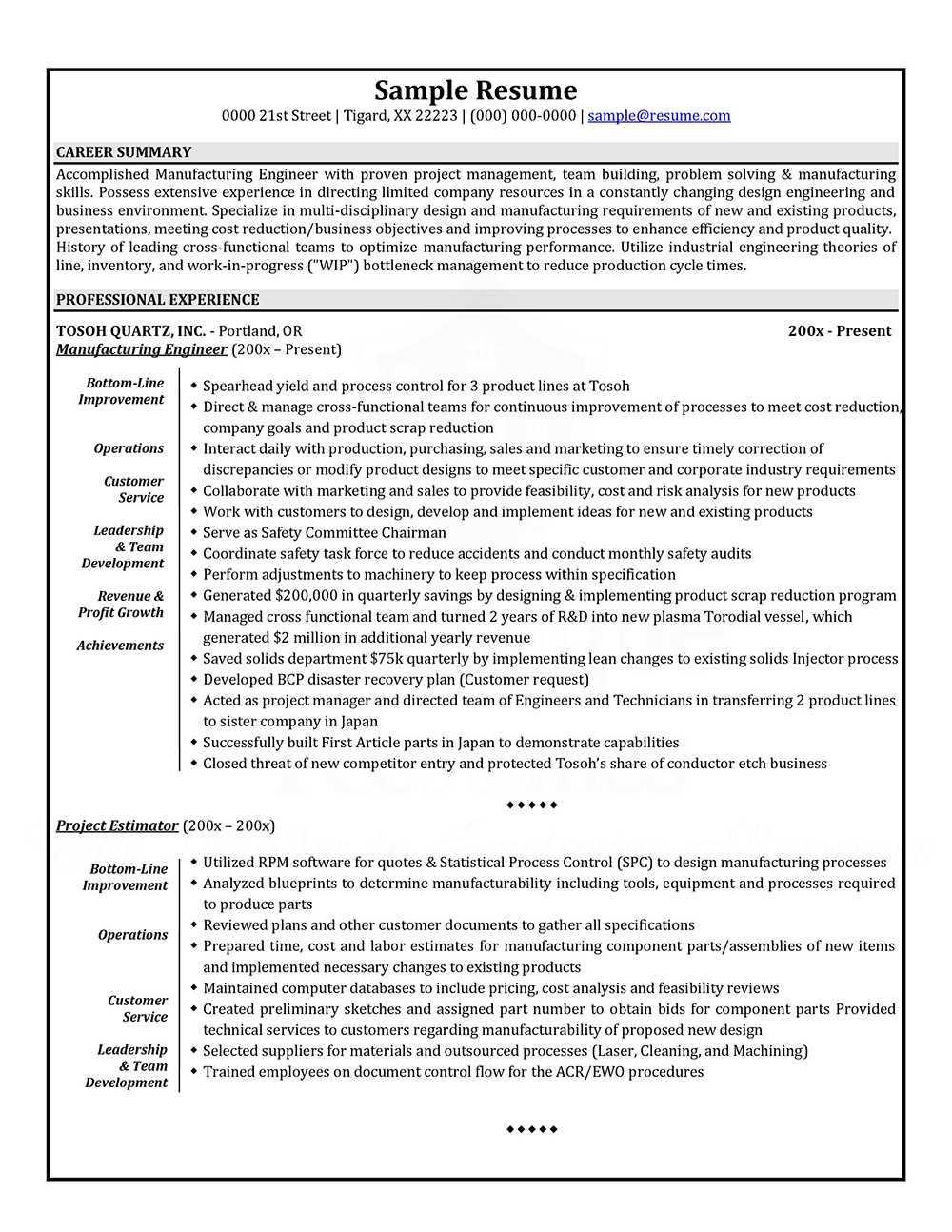 sample resume of former business owner